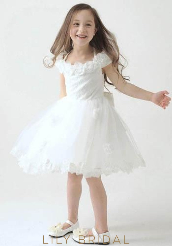 Halter Knee-Length Lace Tulle Flower Girl Dress With Bowknot Back Detail