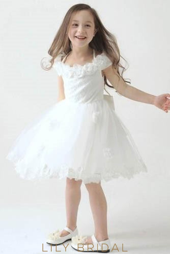 Halter Knee-Length Lace Tulle Flower Girl Dress With Bowknot Back Detail Dresses