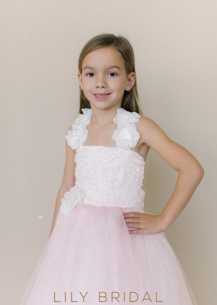 Tulle Strap Criss Cross Back Ball Gown Flower Girl Dress With Hand-Made Flower