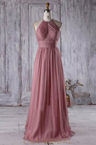 Halter Sweep Train Chiffon Bridesmaid Dress With Ruched Bodice