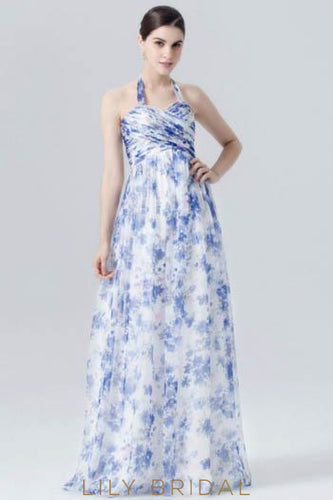 Halter Sweetheart Floor-Length Floral Print Evening Dress
