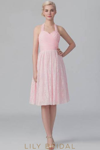 Halter Sweetheart Lace Short Bridesmaid Dress With Ruched Bodice