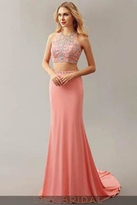 Halter Two-Piece Trumpet Court Train Evening Dress With Rhinestone
