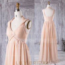 Halter V-Neck Pearl Pink Empire Waist Chiffon Bridesmaid Dress