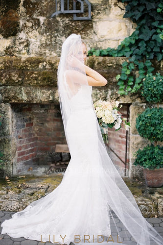Hand Cut Edge Ivory Chapel Veil in Silk Effect Tulle