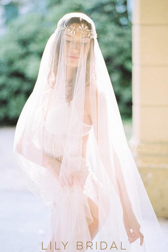 Hand Cut Edge Silk Effect Floor-Length Drop Veil