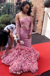 Handmade Flower Lace Strapless Long Sleeves Two Piece Mermaid Prom Dresses