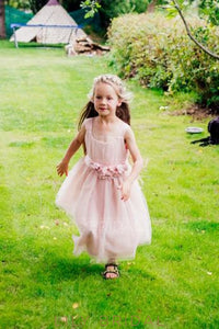 Handmade Flower Straps Sleeveless Ankle-Length Sheath Tulle Flower Girl Dress