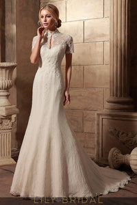 High Collar Short Sleeve Lace Satin Mermaid Ivory Wedding Dress
