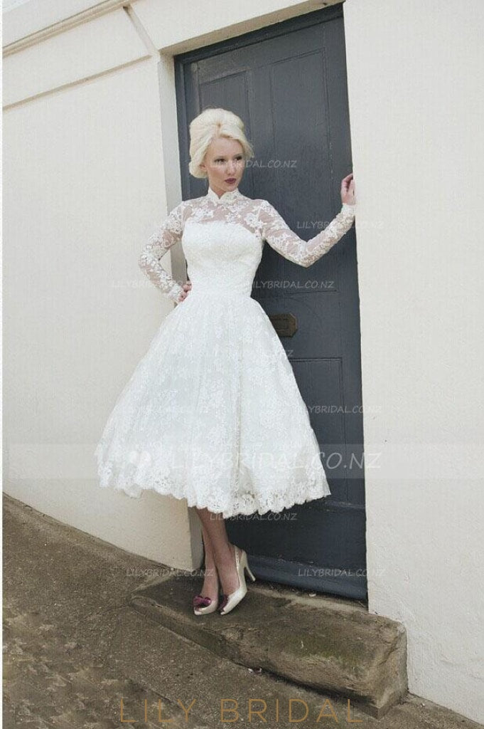 High Neck Long Sleeve Tea-Length Illusion Lace Bridal Dress With Keyhole Back