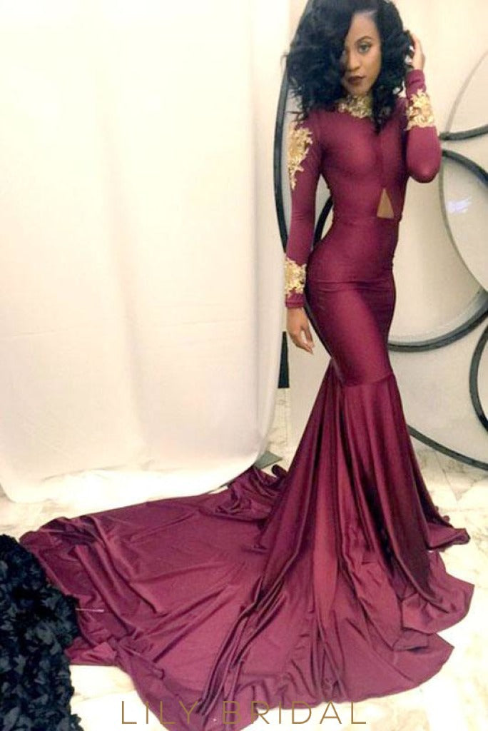 High Neck Long Sleeves Burgundy Mermaid Prom Dress With Gold Applique