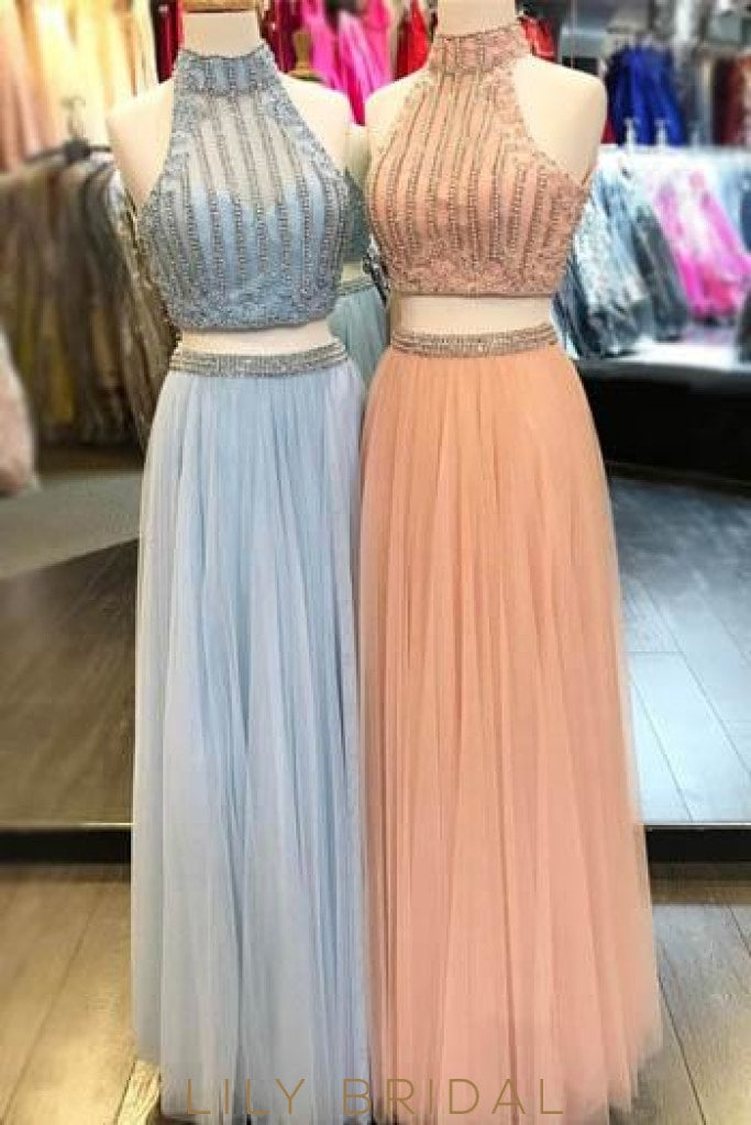 High Neck Two-Piece Floor-Length Tulle Prom Dress With Beads