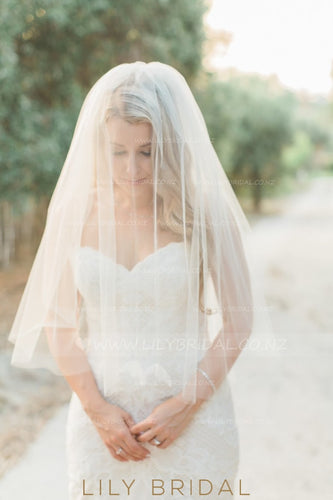 Hip Length Two Layer Ivory Wedding Veil