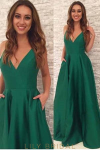 Hunter Green V-Neck Floor-Length Satin Evening Dress With Pockets