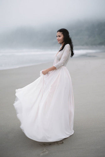 Lace Illusion V-Neck Half Sleeves Long Sheath Chiffon Bridal Gown Beach Wedding Dress