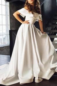 Gorgeous Ruffles Off Shoulder Lace-Up Long Satin Princess Bridal Gown Wedding Dress