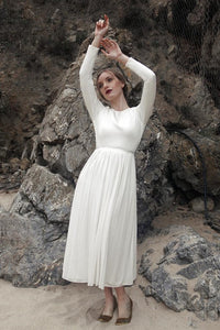 Vintage Scoop Neck Long Sleeves Tea-Length Bridal Gown Wedding Dress