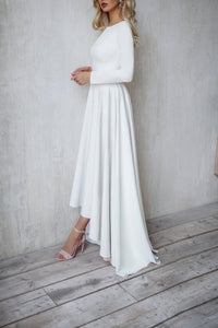 Vintage Scoop Neck Long Sleeves Zipper-Up Long Satin Bridal Gown Wedding Dress