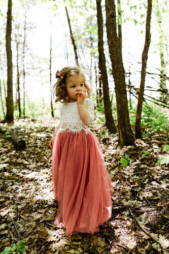 Lace Scoop Neck Half Sleeves Two Piece Floor-Length Tulle Princess Flower Girl Dresses