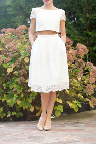 Lace Bateau Neck Short Sleeves Two Piece Knee-Length Bridal Gown Wedding Dresses