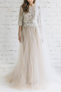 Lace Illusion Scoop Neck Half Sleeves Long Tulle Bridal Gown Two Piece Wedding Dresses