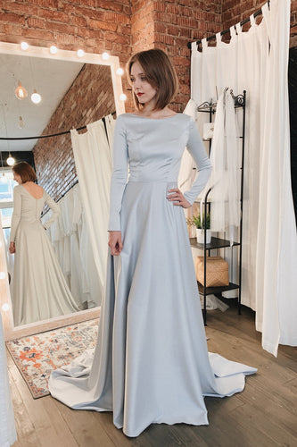 Vintage Bateau Neck Long Sleeves Long Satin Bridal Gown Wedding Dress