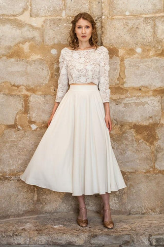 Applique Bateau Neck Long Sleeves Zipper-Up Two-Piece Tea-Length Bridal Gown Wedding Dress