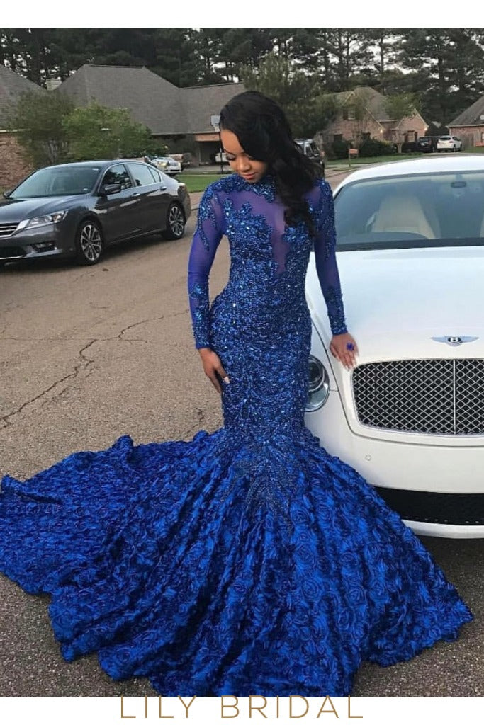 Royal Blue High Neck Long Sleeve Court Train Illusion Mermaid Prom Dress With Floral Skirt