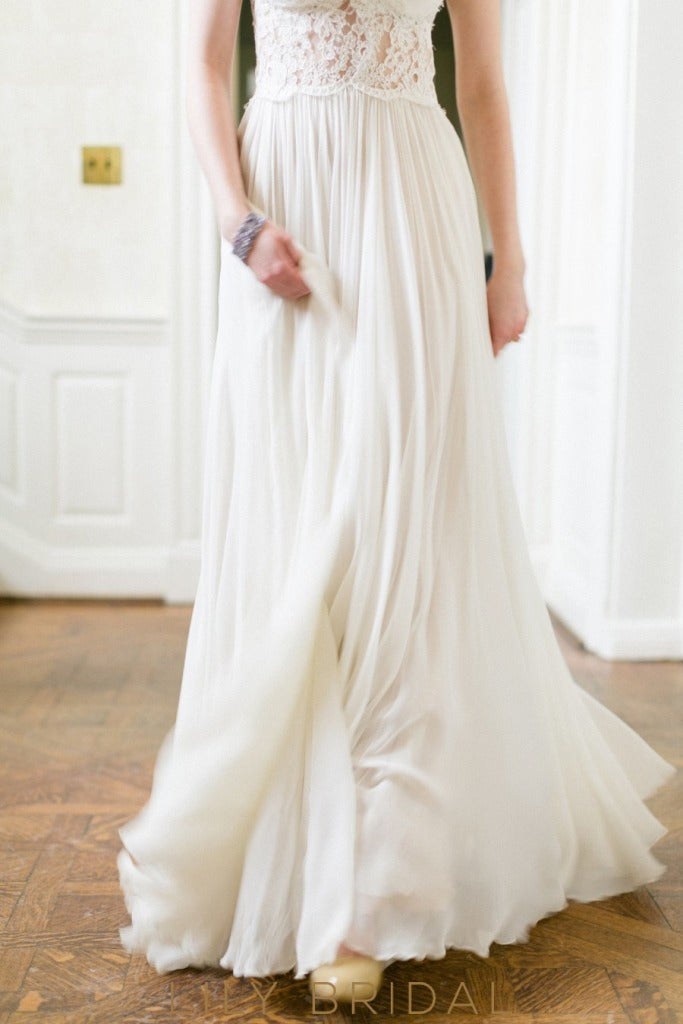 ivory illusion cap sleeves wedding gown