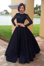 Illusion Scoop Neck Long Sleeves Two Piece Floor-Length Black Evening Dresses
