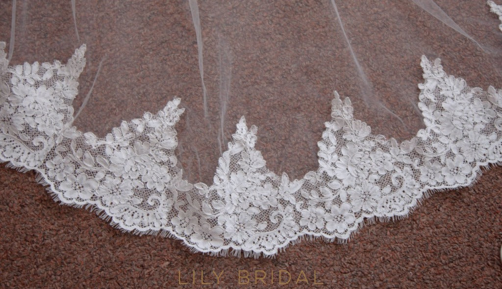 lace trim weeding veil