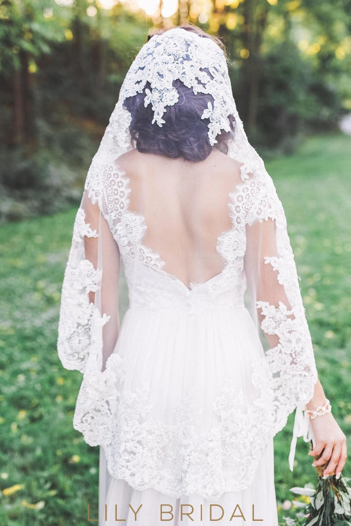 lace applique weeding veil