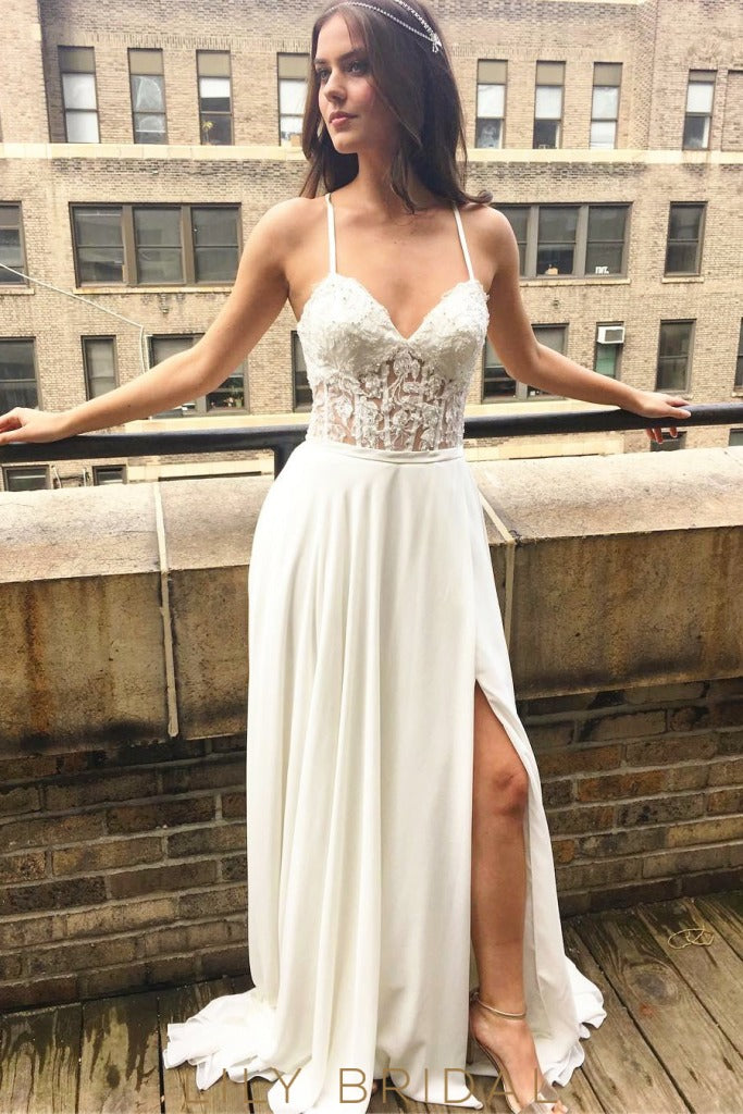 Boho Chiffon Side Slit White Illusion Bodice Wedding Gown with Spaghetti Straps