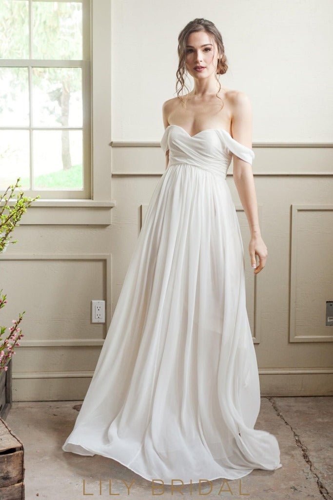 Off-The-Shoulder Design Flowy A-Line Chiffon Skirt wedding dress