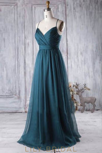Ink Blue Spaghetti Strap Sweep Train Chiffon Bridesmaid Dress With Ruching
