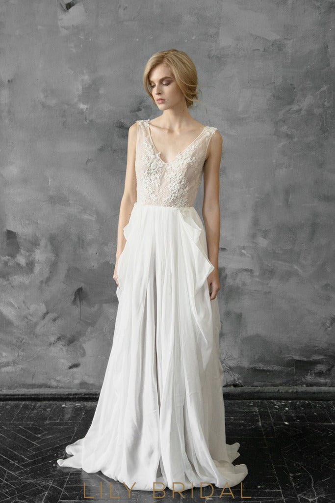 Ivory A-line Chiffon and Lace V-Neckline Sleeveless Wedding Dress