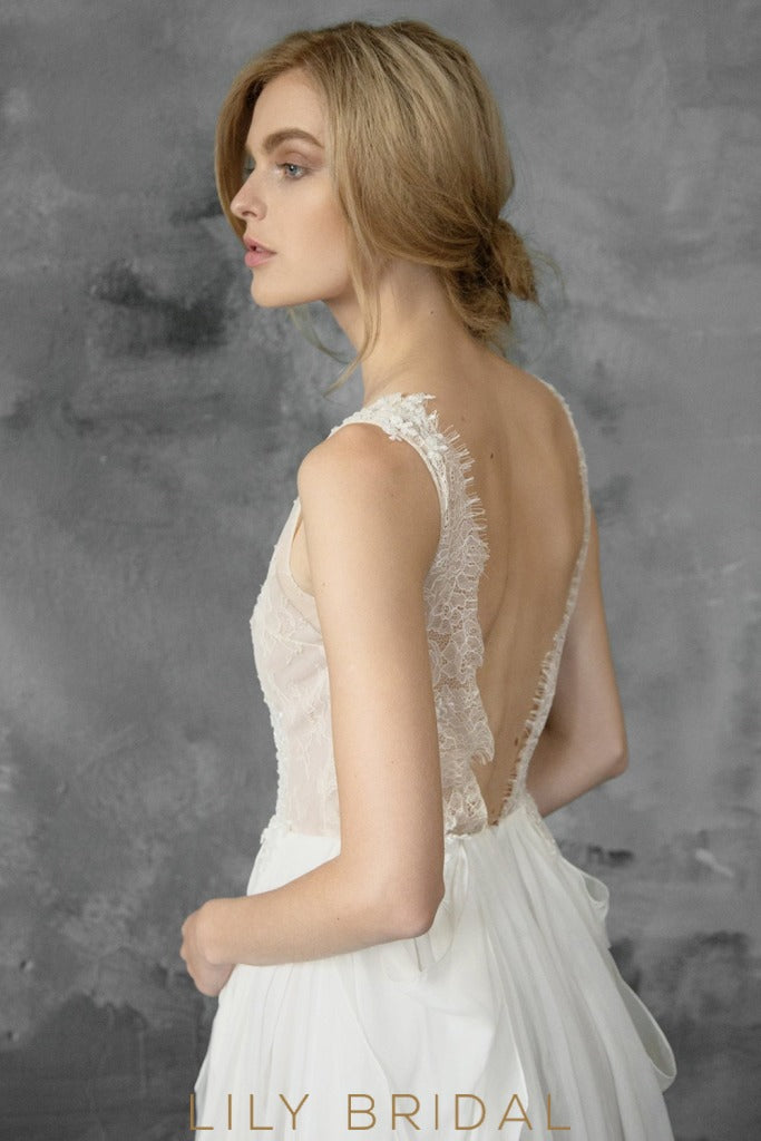 Ivory Chiffon and Lace V-Neckline Sleeveless Wedding Dress