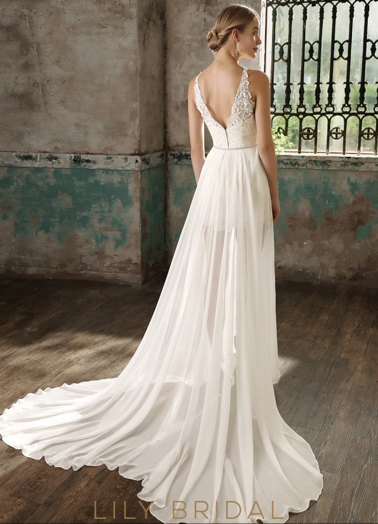 Ivory Lace and Chiffon Illusion with Chapel Train Wedding Dress