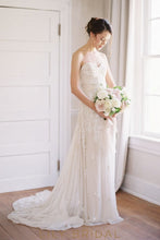 Ivory Chiffon Sweetheart Floor-length Beaded Floral Wedding Dress