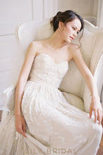 Ivory Chiffon Strapless Sweetheart Floor-length Beaded Floral Wedding Dress