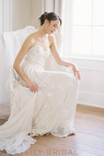 Ivory Chiffon Strapless Floor-length Beaded Floral Wedding Dress