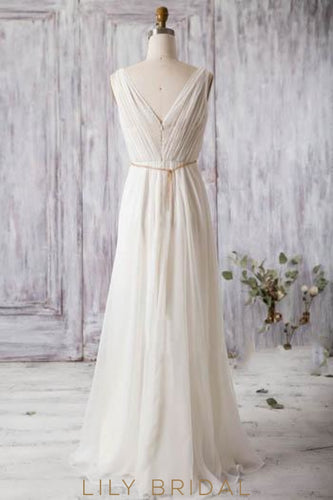Ivory Chiffon V-Neck Bridesmaid Dress With Sequins