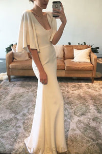 Ivory Fit-and-flare V-Neckline Satin Wedding Dress with Flutter Sleeve