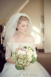 Ivory Hand Cut Edge Two Layer Elbow Bridal Veil
