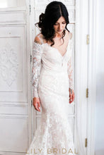 Ivory Illusion V-Neckline Lace Mermaid Long Sleeve Wedding Dress with Bold Sheer Back