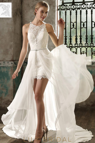 Ivory Lace and Chiffon Illusion Sleeveless with Chapel Train Wedding Dress
