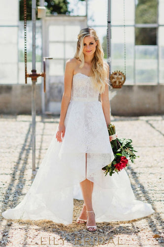 Ivory Lace High-Low Strapless Sweetheart Wedding Dress
