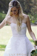 Ivory Lace High-Low Strapless Wedding Dress