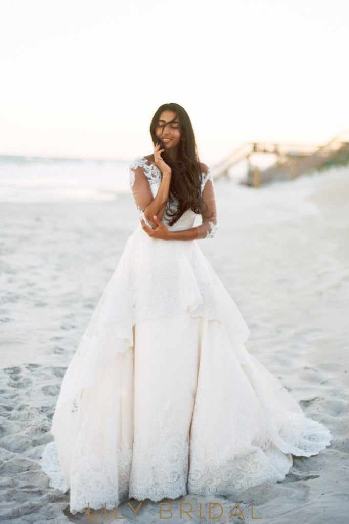 Ivory Lace Illusion Wedding Dresses