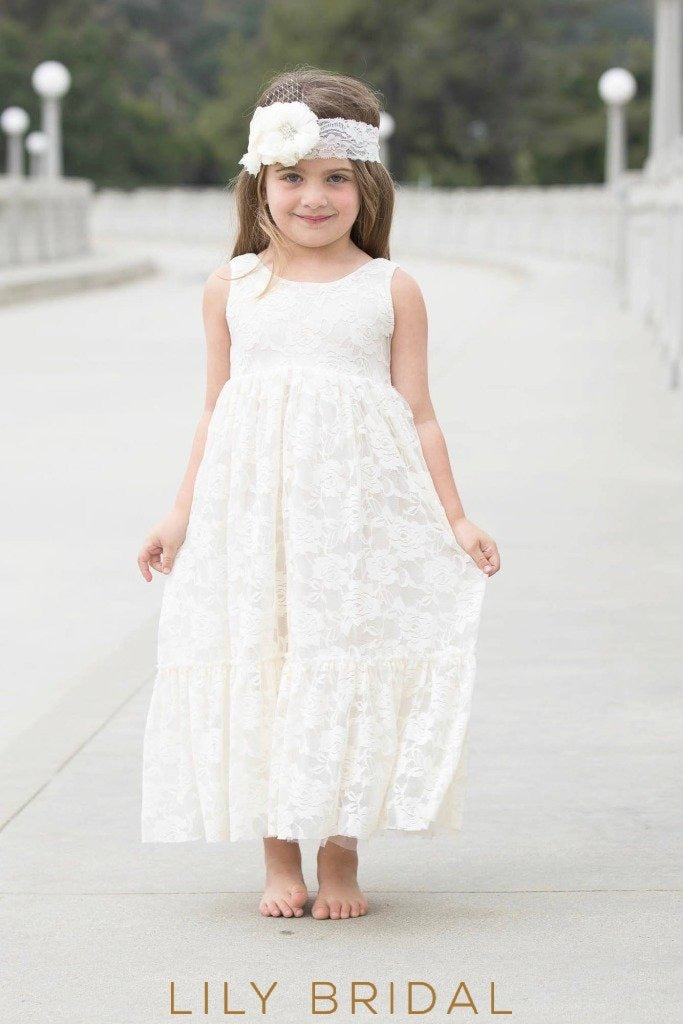 Lace Jewel Neckline Sleeveless A-Line Ankle Length Flower Girl Dress With Corsage
